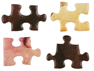 set of brown little puzzle pieces