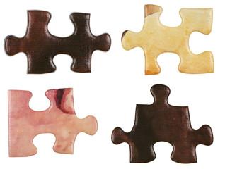 set of brown little puzzle pieces