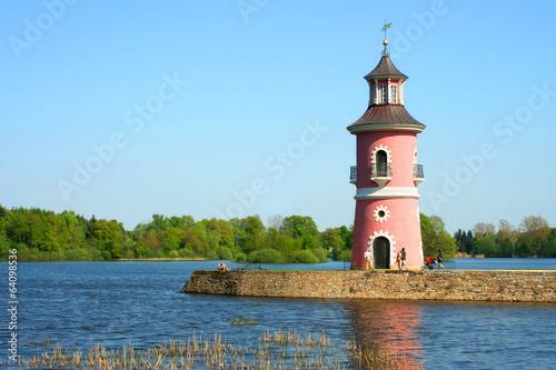 Leinwanddruck Bild Mole und Leuchtturm Großteich Moritzbug