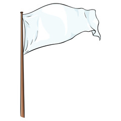 Cartoon Illustration: Blank White Flag Fluttering in the Wind