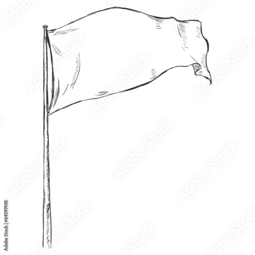 Sketch Illustration: Flag Fluttering in the Wind