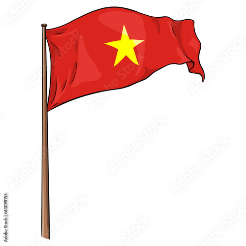 Cartoon Illustration: Vietnamese Flag Fluttering in the Wind