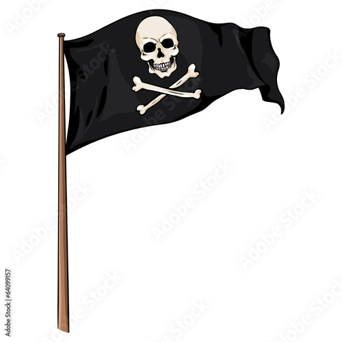 Cartoon Illustration: Pirate Flag Fluttering in the Wind