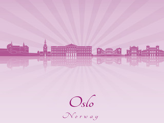 Oslo skyline in purple radiant orchid