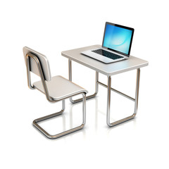 laptop school desk and chair
