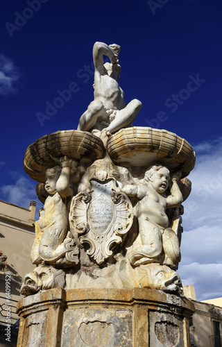 Italy, Sicily, Noto, view of the baroque Hercules fountain