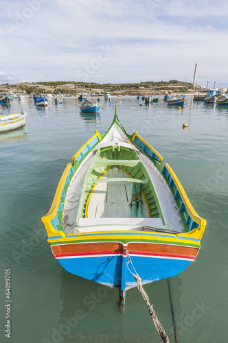 Kajjik Boat at Marsaxlokk harbor in Malta.