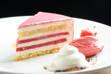 Raspberry cream cake with ice cream