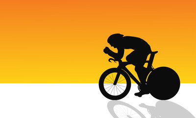 time trial cycling siluate vector