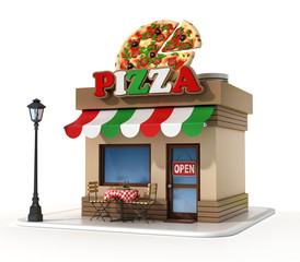 pizzeria 3d illustration