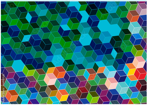 bright mosaic background with hexagonal tiles