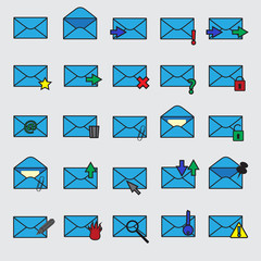 computer mail simple blue icons eps10