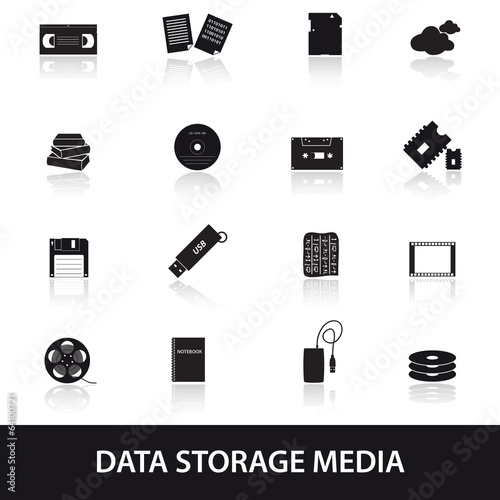 data storage media icons eps10