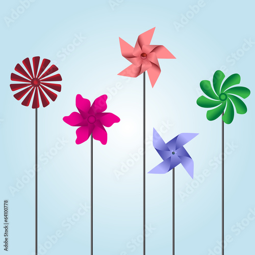 colorful pinwheel toys eps10