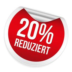 Roter 20 Prozent reduziert Sticker