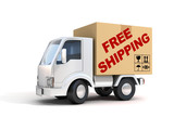 Fototapety free shipping van loaded with cardboard box