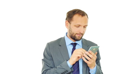 Young businessman with modern smartphone, isolated on white