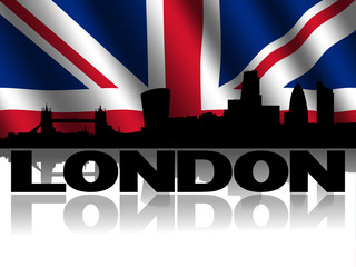 London skyline text reflected British flag illustration