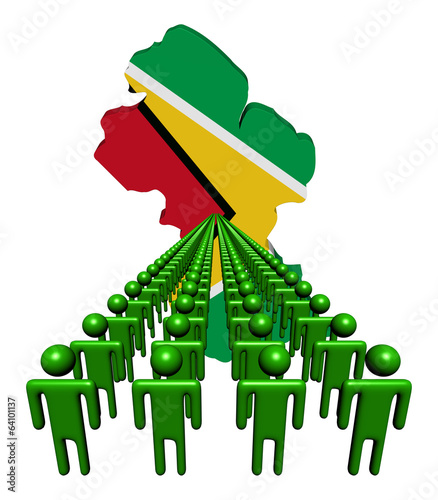Lines of people with Guyana map flag illustration