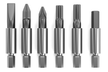 realistic 3d render of screwdriver tops