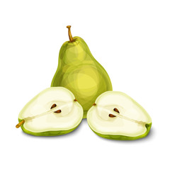 Green natural organic pear fruit