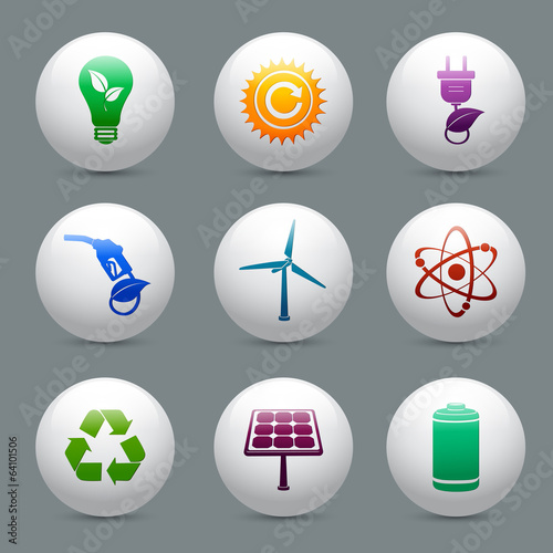 Energy and ecology buttons set