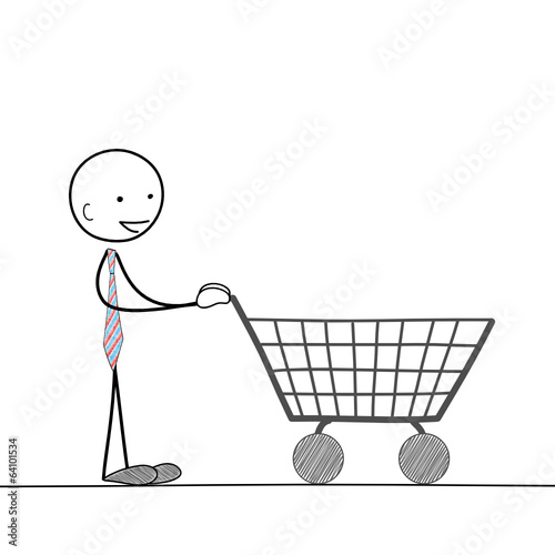 STICKMAN PUSHING SHOPPING TROLLEY (cart online e-commerce store)