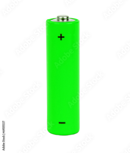green small battery with positive and negative signs