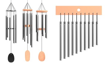 realistic 3d render of wind chimes set