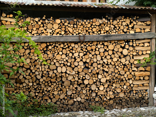 Pile of heavy cut wood logs