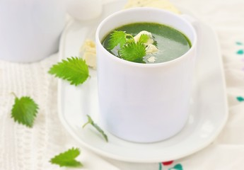 wild nettle cream soup with blue cheese  .
