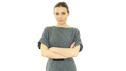Serious unhappy businesswoman looking into camera, isolated