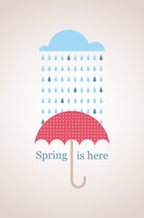 Spring time. Retro card with cloud and umbrella