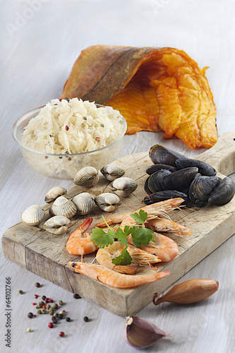 sauerkraut, shrimp, smoked haddock for frech dish preparation