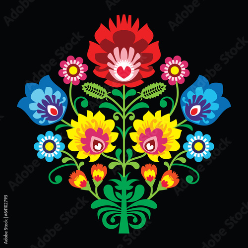 Polish folk embroidery with flowers - traditional pattern