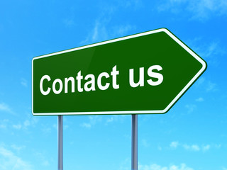 Marketing concept: Contact Us on road sign background