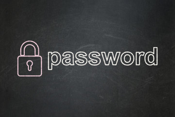 Security concept: Closed Padlock and Password on chalkboard