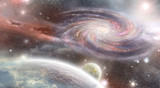 spiral galaxy and planets  in space - 64103167