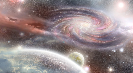 spiral galaxy and planets  in space