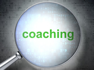 Education concept: Coaching with optical glass