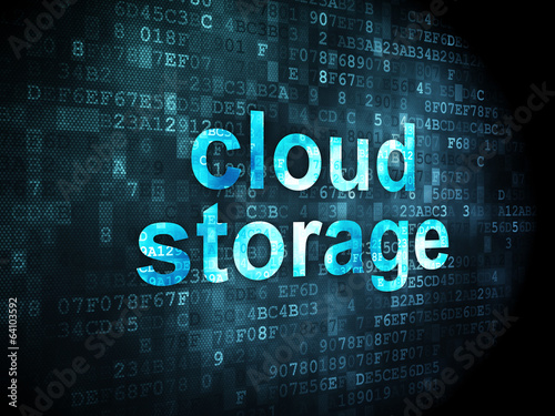 Cloud technology concept: Cloud Storage on digital background