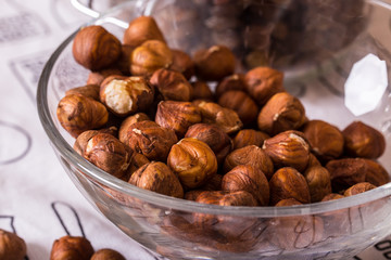 hazelnuts in the glass bowl