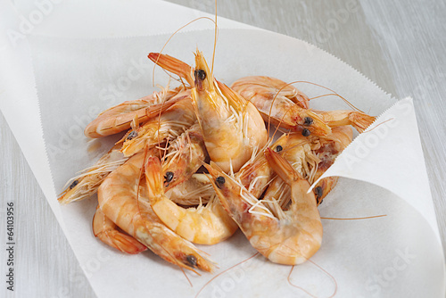 French shrimps on baking paper