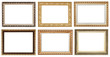 set of wide golden ancient wooden picture frames