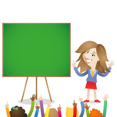 Kindergarten, preschool teacher, chalk board, kids raising hands