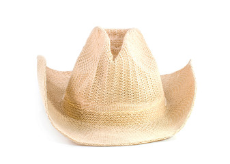 Brown weaving hat isolated on white