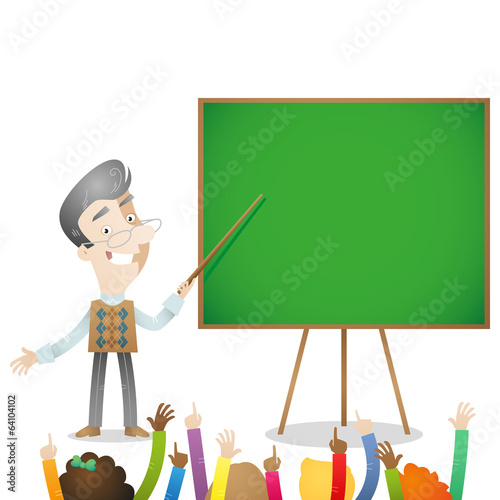 Senior, kindergarten, preschool, teacher, children raising hands
