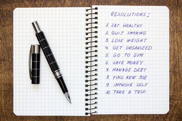 Spiral notebook with list of resolutions