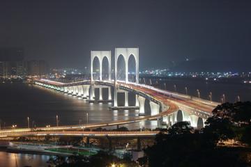 View with Sai Van Bridge at Night Macao