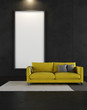 Black  room with yellow couch